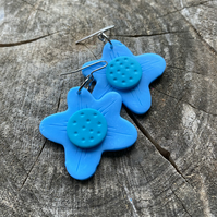 Pretty Floral Daisy Dangle Hook or Hoop Polymer Clay Earrings
