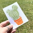 Potted Cactus Printed Postcard