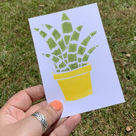 Perfectly imperfect Succulent Cactus Hand Printed Postcard Print