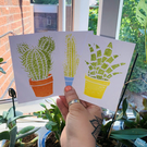 3 Pack Of Cactus Hand Printed Postcard Prints