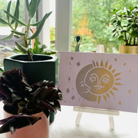 Multi tone Gold and Silver Sun Moon and Stars Lino cut Hand printed Postcard