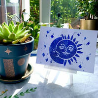 Blue Iridescent Moon and Stars Special Edition Hand Printed Lino Cut Print
