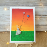 "Seaglass and seapottery canvas art ""Sunset"""