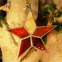 Handmade Vibrant Red Stained Glass Hanging Decoration Classic Glass Star
