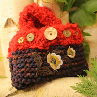 Handmade Knitted Recycled and Up-Cycled Fabric Evening Bag