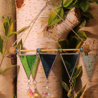 Original Design, Stained Glass,Triple Crystal, Medieval Pennant, Suncatcher