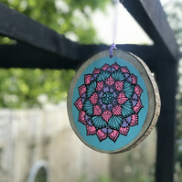 Hand Painted Pink, Blue & Purple Mandala Log
