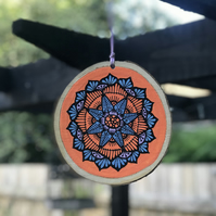 Hand Painted Orange & Purple Mandala Log