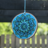 Hand Painted Blue & Metallic Turquoise Mandala Log