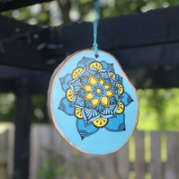 Hand Painted Blue & Yellow Mandala Log