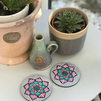 Hand Painted Pink, Silver and Teal Mandala Coasters