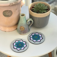 Hand Painted Silver, Lilac and Blue Mandala Coasters