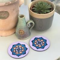 Hand Painted Purple, Blue and Peach Mandala Coasters