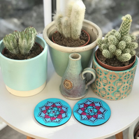 Hand Painted Blue and Fuchsia Mandala Coasters