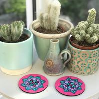 Hand Painted Blue, Fuchsia and Lilac Mandala Coasters