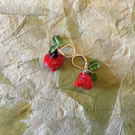 Chili, toadstools, strawberries, oranges and aubergines earrings