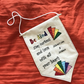 Personalised Hanging Flag in Rainbow Deco, Be Kind
