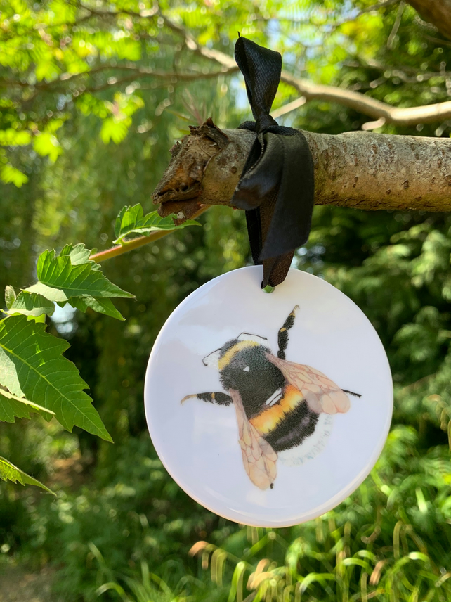 Bumble bee ceramic decoration, Spring gift, hanging decoration