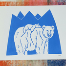 Hand Printed Bear and Cub Lino Print.