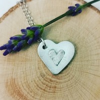"Handmade Pure silver heart pendant on a 18"" chain"