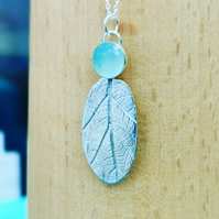 One of a kind silver leaf pendant with chalcedony stone on chain