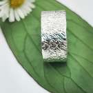 Textured wide sterling silver band ring size N