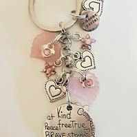Brave Strong Kind Someone Special Keyring With Pink Star And Heart Charms