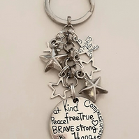 Brave Strong Kind Someone Special Keyring With Blue FlowerCharms