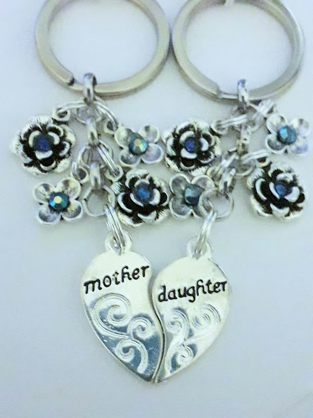 Matching Rhinestone Set Blue Flowers For Mother And Daughter Matching Keyrings