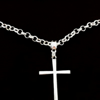 Antique Silver Plated ROLO Chain With Large Simple Cross Pendant Mens Jewellery