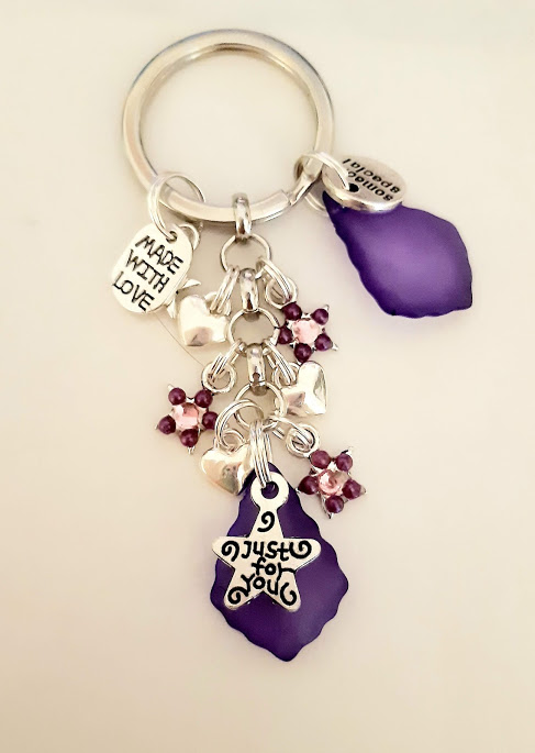 Just For You Someone Special Keyring With Purple Lucite And Pink Star Charms
