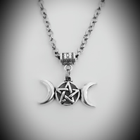 Men's Antique Silver Tone ROLO Chain Necklace With Triple Moon Pentacle Pendant