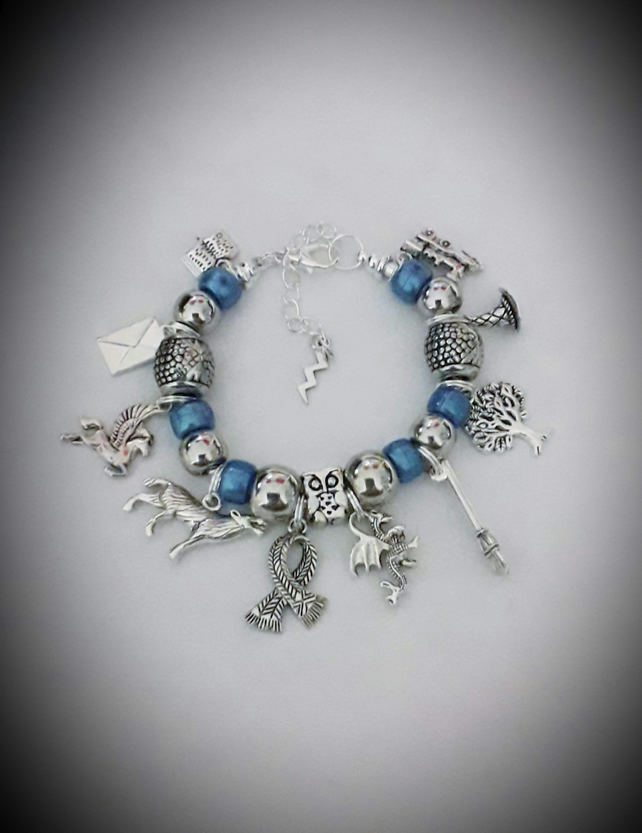 Girls Harry Potter Inspired Snake Chain Charm Bracelet With Ravenclaw Blue
