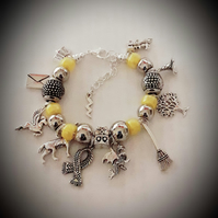 Girls Harry Potter Inspired Snake Chain Charm Bracelet Hufflepuff Yellow Beads