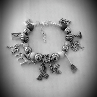 Girls Harry Potter Inspired Snake Chain Charm Bracelet Silver Grey Beads