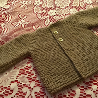 "MATINEE JACKET COAT TO FIT 16"" NEWBORN HANDKNITTED IN ACRYLIC"