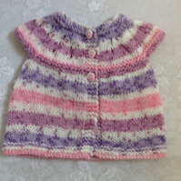 MATINEE JACKET COAT TO FIT PREEMIE HANDKNITTED IN VARIEGATED ACRYLIC