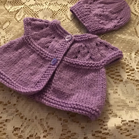 MATINEE JACKET COAT TO FIT PREEMIE HANDKNITTED IN DK ACRYLIC