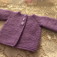 "MATINEE JACKET COAT WITH HAT TO FIT 12"" PREEMIE HANDKNITTED IN ACRYLIC"