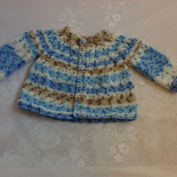 "MATINEE JACKET COAT TO FIT 16"" HANDKNITTED IN VARIEGATED ACRYLIC"
