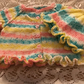 "BABY CARDIGAN JACKET AND HAT 18"" NEWBORN HAND KNITTED VARIEGATED ACRYLIC YARN"