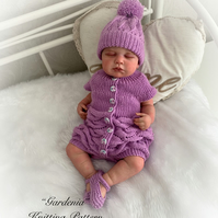 """Gardenia"" Knitting pattern for a 0-3 mth old baby or 16-22"" Reborn doll - PDF"