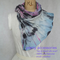 silk scarf hand dyed crush pleated