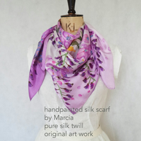 wisteria hand-painted silk scarf square