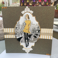 Elegant Parisian lady birthday card