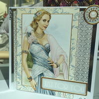 Art Deco glamorous lady birthday card