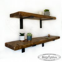 "Rustic Handmade scaffold style Solid Wood Shelf with Industrial Brackets 9""x 2"""