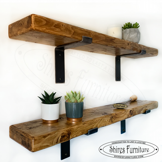 "Solid Wood Scaffold Style Shelf with Industrial Brackets 15cm x 4.7cm (6""x 2"")"