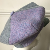 A handknitted Shetland wool 4 panelled flat cap - lilac, blue and green