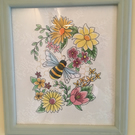 Bee and Flower embroidered picture